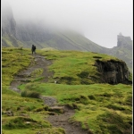 Hiking on Quiraing mountain range, Isle of Skye, Scotland