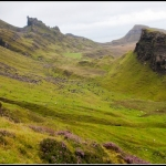 Quiraing mountain range landscape, Isle of Skye Scotland, UK.